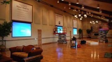 spacious lobby with sofa