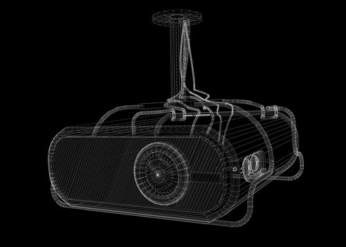 outline of LCD projector on black background
