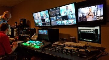 James River Church Control room, featuring Ross Video switcher and Panasonic HD Cameras